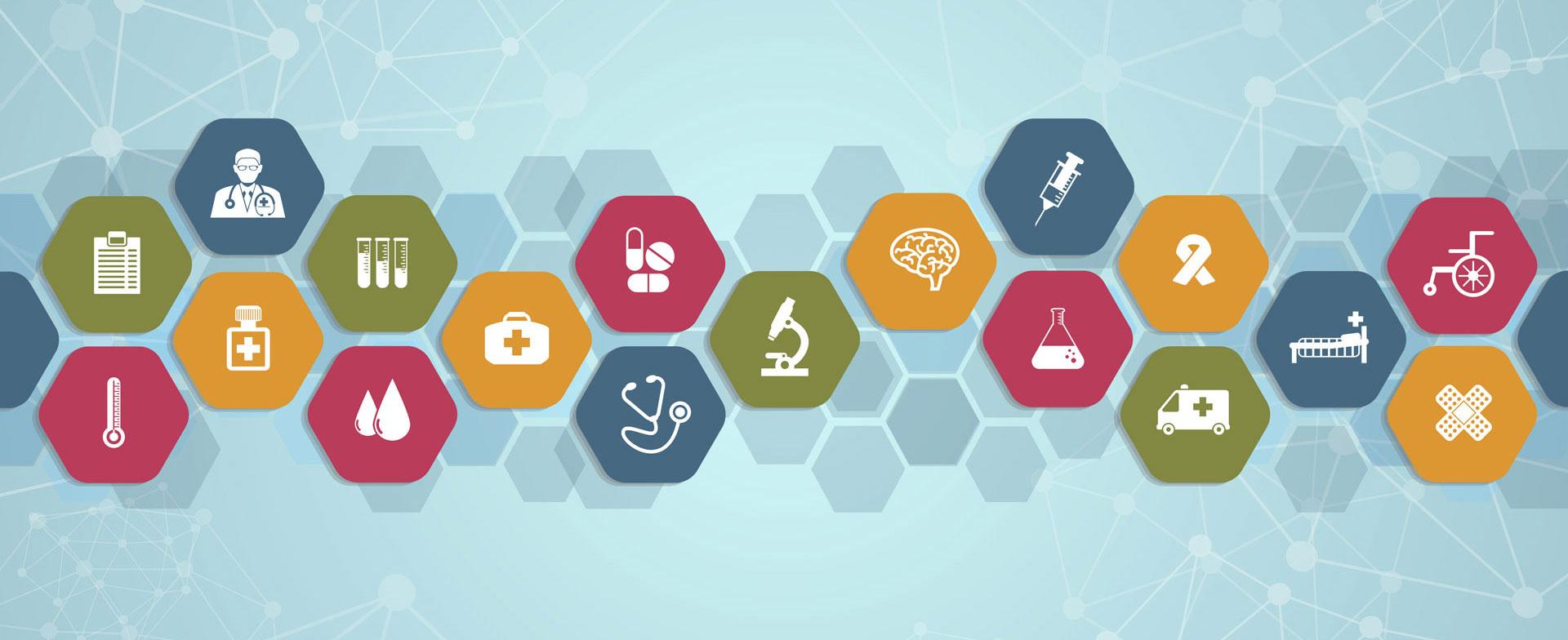 Medizinische Icons in einer Wabenstruktur